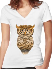'Vintage Owlbert' Women's Fitted V-Neck T-Shirt