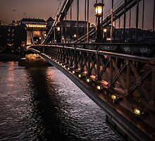 Chain Bridge at Sunset, Budapest, Hungray by Timothy Alberry
