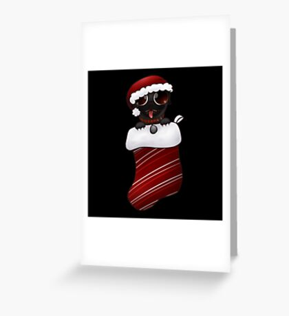 Black Christmas Pug Greeting Card