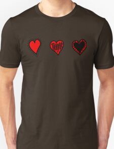 Love, Romance, Hearts - Red Black  T-Shirt