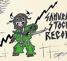Samurai Stock Record Bull Cartoon by Binary-Options