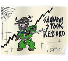 Samurai Stock Record Bull Cartoon Poster