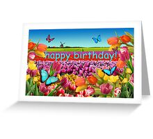 Happy Birthday Tulips Holland Greeting Card