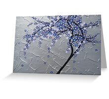 blue and purple blossom tree Greeting Card