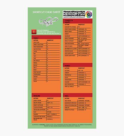Adobe Flash Cheat Sheet Guide Photographic Print