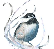 Colored Pencil Chickadee with Ribbons by ShinyDesigns