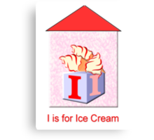 I is for Ice-Cream Play Brick Canvas Print