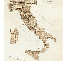 Italy Text Map by LOREDANA CRUPI