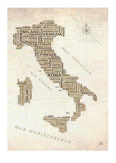 Italy Text Map by LOREDANA CRUPI