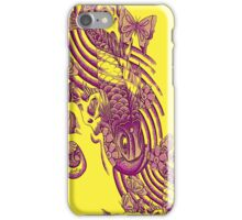 Koi fish with blossoms and butterflies on yellow iPhone Case/Skin