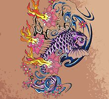 Purple koi simplicity  by Aarron Laidig