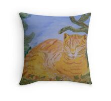 Lazy Ginger Cat Throw Pillow