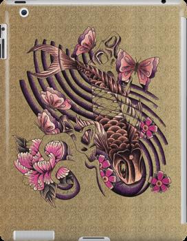 Tattoo styled koi fish art by Aarron Laidig