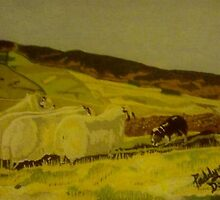 Sheepdog with Sheep Landscape by Paddyta2s