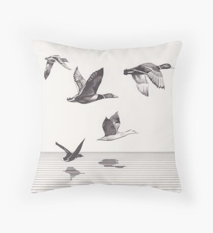 The Ducks in Winter Throw Pillow