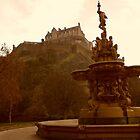 Edinburgh Castle & Fountain - portrait style by ZoeKay