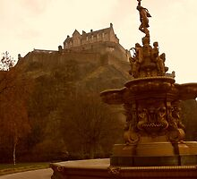 Edinburgh Castle & Fountain - portrait style by ZoeKay
