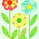 THREE DECOUPAGE FLOWERS by RainbowArt