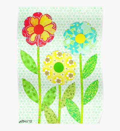 THREE DECOUPAGE FLOWERS Poster