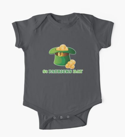 St Patricks Day Gold Hat One Piece - Short Sleeve