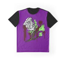 White Rose Design Graphic T-Shirt