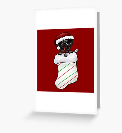 Brindle Christmas Pug Greeting Card