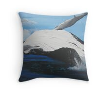whale in the sea Throw Pillow