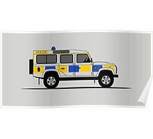 Land Rover Defender 110 Station Wagon Police Car Poster