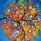 rainbow tree with circle leaves and bright colours by cathyjacobs