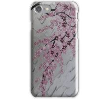 pink cherry blossom with white and silver iPhone Case/Skin