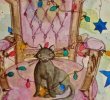 Christmas Cat on Victorian Chair Sticker