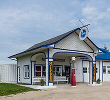 A restored Standard Oil gas station on Route 66 in Odell, Il by swtrekker