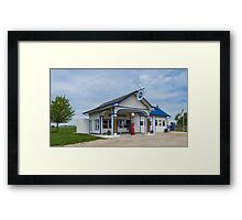 A restored Standard Oil gas station on Route 66 in Odell, Il Framed Print