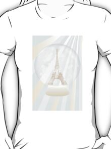 Retro poster with Eiffel-tower inside a snowglobe T-Shirt