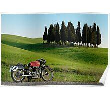 "Gilera Otto Bulloni ""Milano-Taranto"" at a Cypress forest in Tuscany Poster"