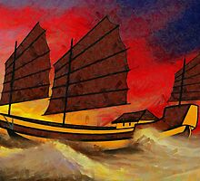 A digital painting of a Chinese Junk in Rough Seas by Dennis Melling