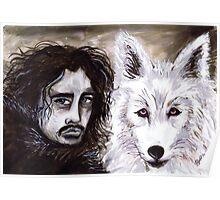 Jon Snow & The White Wolf Poster