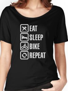 Eat, sleep, bike, repeat Women's Relaxed Fit T-Shirt