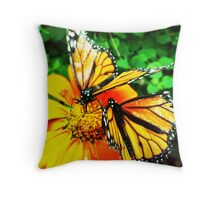 Two orange Butterfly's Throw Pillow