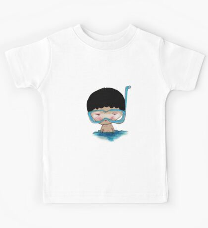 He Decided to go swimming big blue googly goggles and all, tee - by Beatrice Ajayi Kids Tee