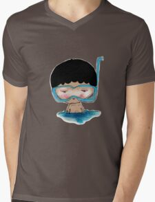 He Decided to go swimming big blue googly goggles and all, tee - by Beatrice Ajayi Mens V-Neck T-Shirt