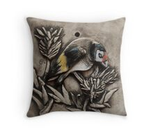 Goldfinch on Thistle Throw Pillow