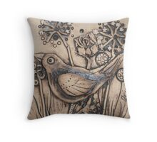 Blackbird Among Cow Parsley Throw Pillow