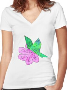 Origami Butterfly Women's Fitted V-Neck T-Shirt