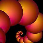 Orange Red Spiral Spheres by Objowl