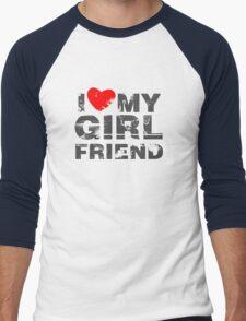 I Love My Girlfriend Vintage Valentines Day Men's Baseball ¾ T-Shirt