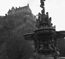 Edinburgh Castle & Fountain - monochrome by ZoeKay