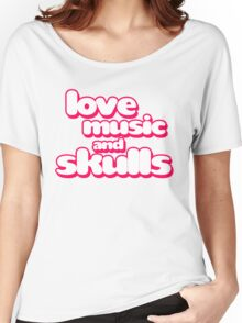Love Music And Skulls Emo Women's Relaxed Fit T-Shirt