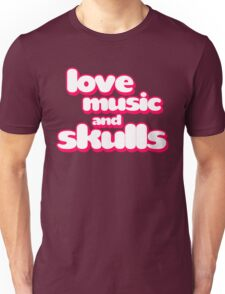 Love Music And Skulls Emo Unisex T-Shirt