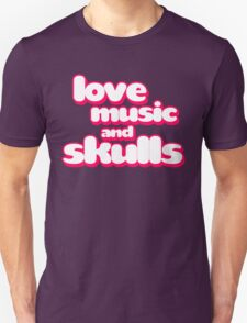 Love Music And Skulls Emo T-Shirt